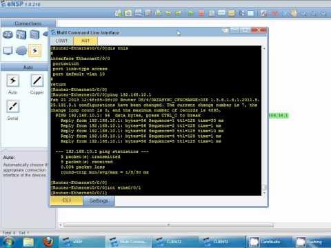 Huawei Simulator ENSP - Creating Vlan And Port Trunk
